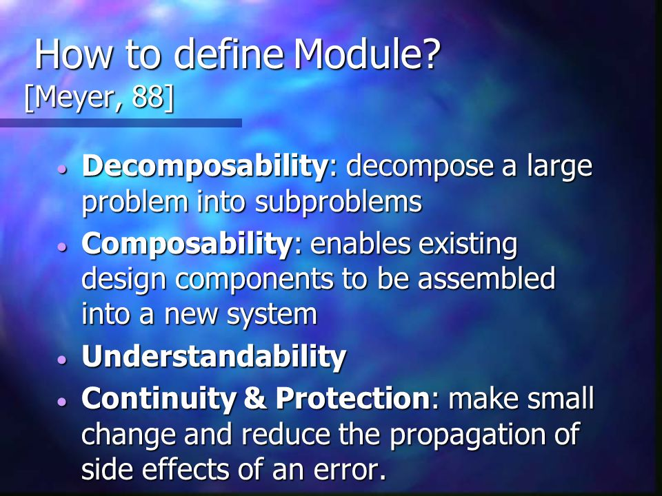 How to define Module [Meyer, 88]